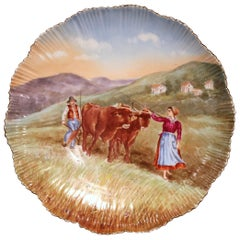 Large 19th Century French Hand Painted and Gilt Porcelain Wall Platter with Cows
