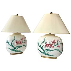 Chapman Floral Lamps, Pair