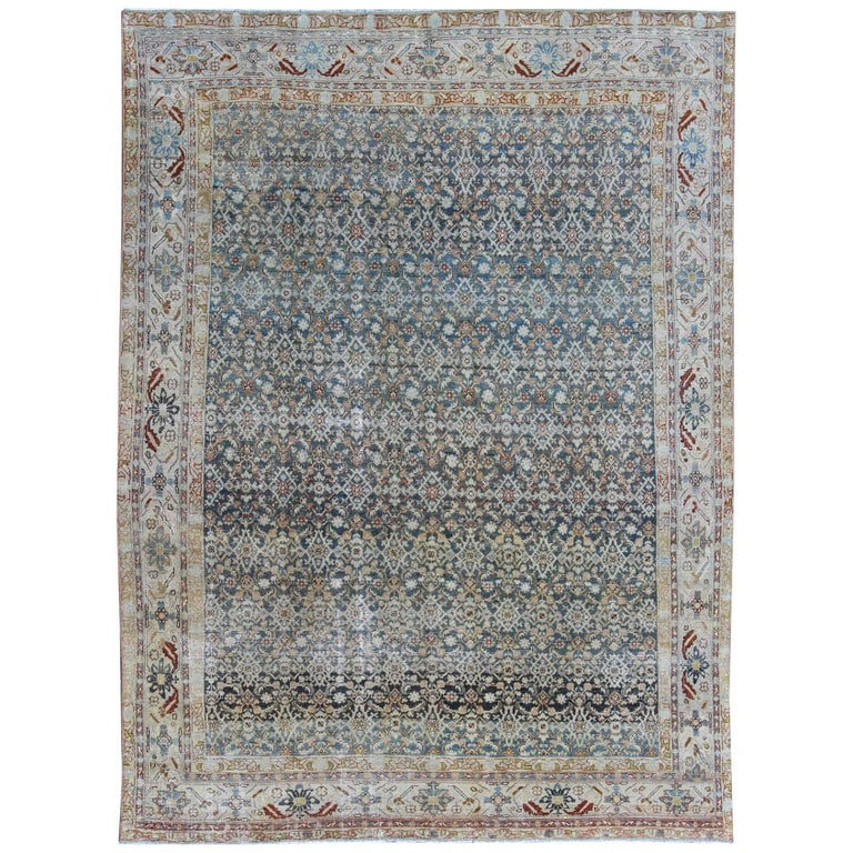 Persian malayer rug with exquisite design in blue ivory for Cream and red rugs