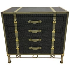 Large French Mid-Century Modern Louis Vuitton Style Leather Trunk, Commode Chest