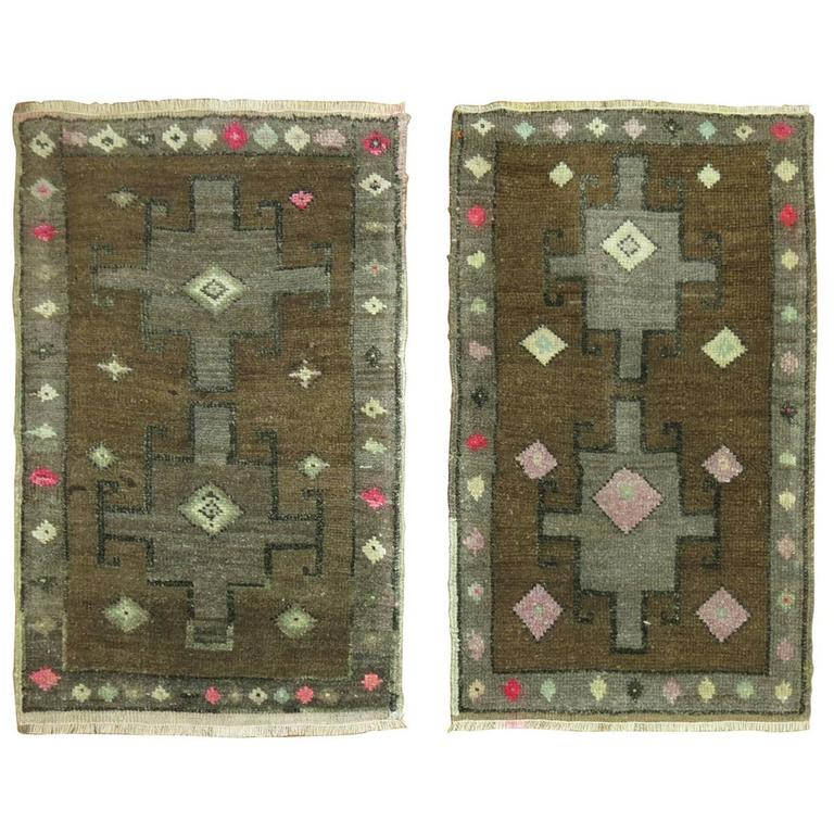 Pair of Vintage Turkish Anatolian Rugs in Brown and Pink