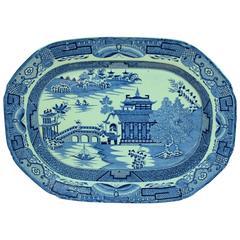 "Antique English George III Leeds Pottery Ironstone ""Long Bridge/Willow"" Platter"
