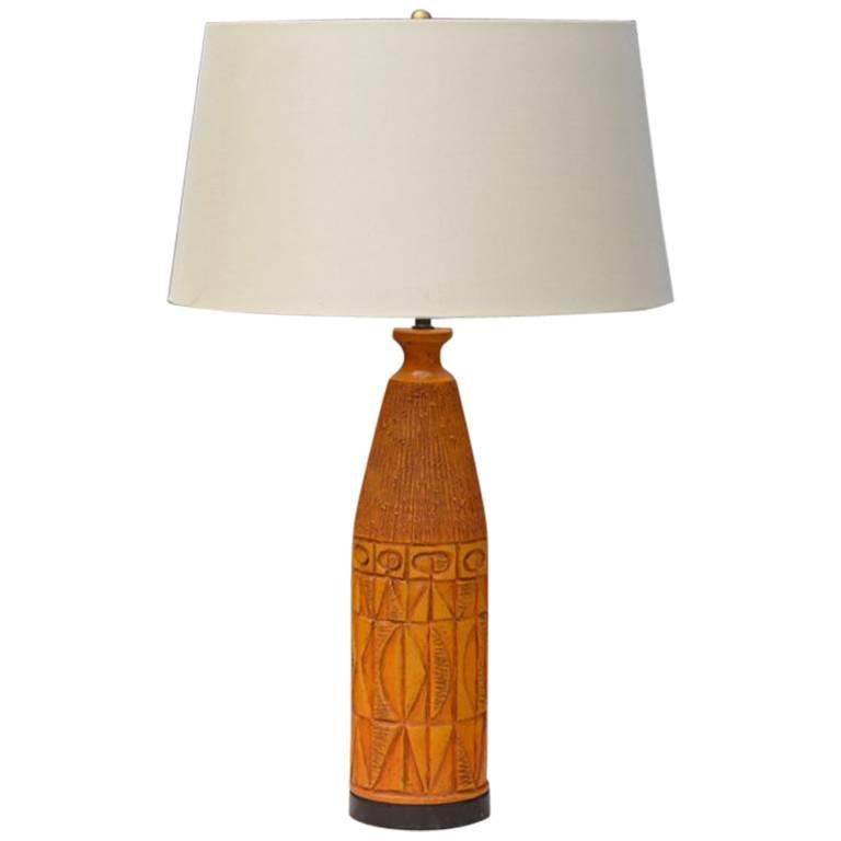 Chic Brutalist Ochre Ceramic Table Lamp with Custom Silk Shade