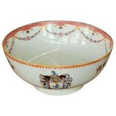 """Antique Chinese Export Hand-Painted Porcelain """"Famille Rose"""" Armorial Round Bowl"""