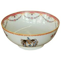 "Antique Chinese Export Hand-Painted Porcelain ""Famille Rose"" Armorial Round Bowl"