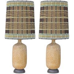 Pair of Huge Ceramic Table Lamps with Intact Maria Kipp Shades