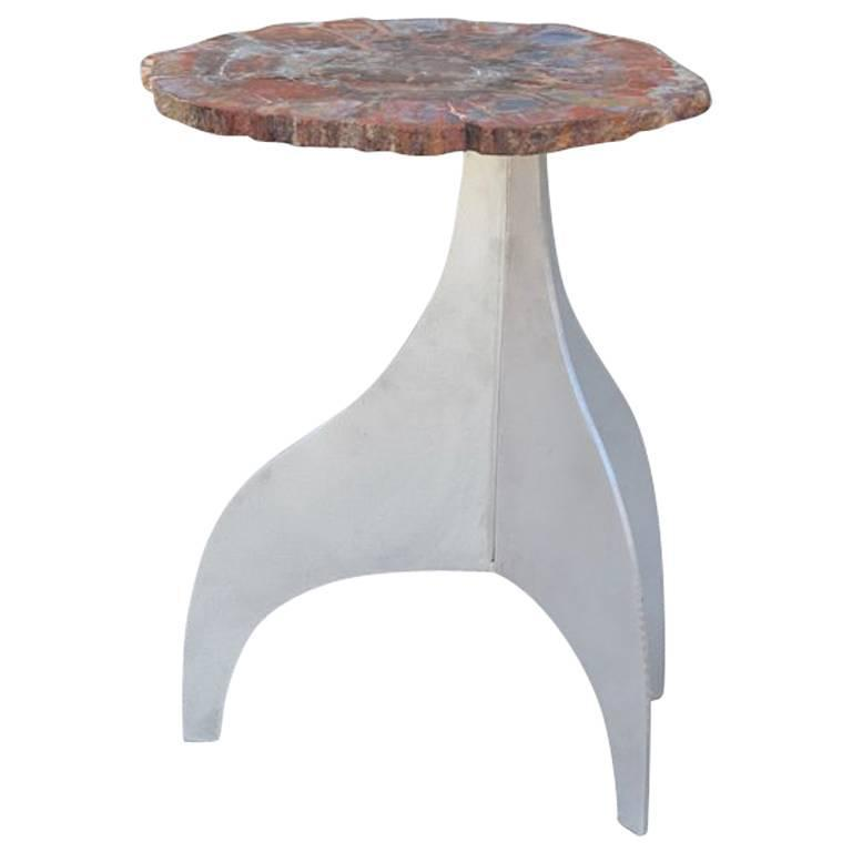 'Seve' Petrified Wood and Aluminium Side Table by Design Frères For Sale