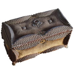 Unique & Handcrafted Mid-19th Century Tramp Art Box with Stunning Details, 1864