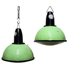 Green Industrial Pendant Lights with Glass, 1960s