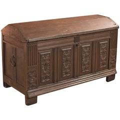 Antique Chest, Oak Ships Trunk Late 17th Century