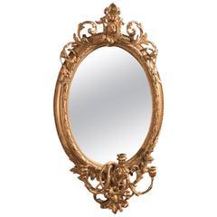 Late 18th Century Antique Girandole Gilt Gesso Mirror