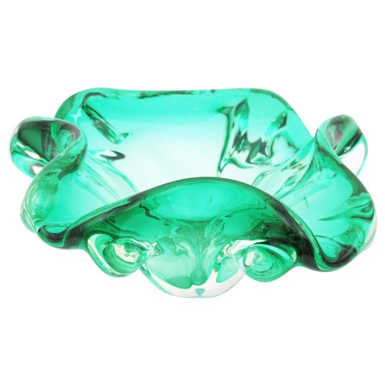 1960s Aqua Green Sommerso Murano Art Glass Flower Bowl