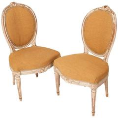 Pair of Georges Jacob Chairs, Paris, France, Louis XVI-Style, Stamped circa 1765