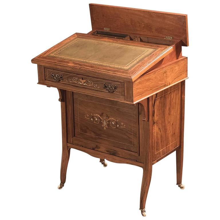 Antique Davenport Edwardian Tilt Top Desk For