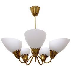Swedish Brass Ceiling Lamp, 1950s