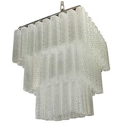 Murano Chandelier Glass  Tubes  Italian Design Cascade 1960s Mid-Century