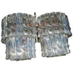 Chandelier, Glass Iridescent Attributed Venini Murano Midcentury design