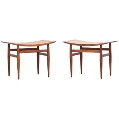 1950's cane and walnut Stools by Kipp Stewart