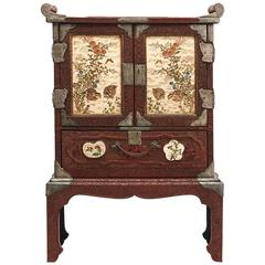 Japanese Red Lacquer Cabinet and Stand Satsuma Panels, 19th Century