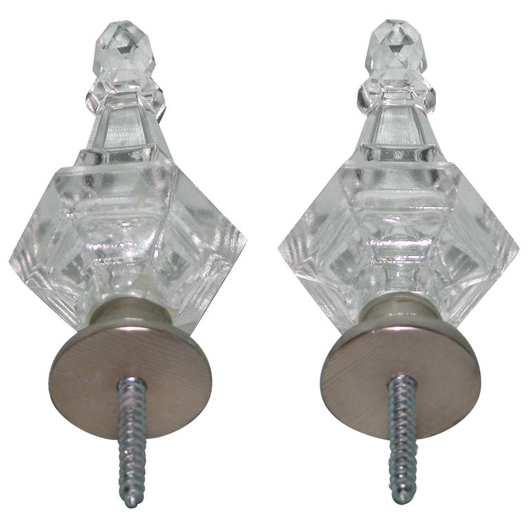 Pair of Modern Baccarat Style Glass Drapery Rod Finials with Silver Plated Bases For Sale