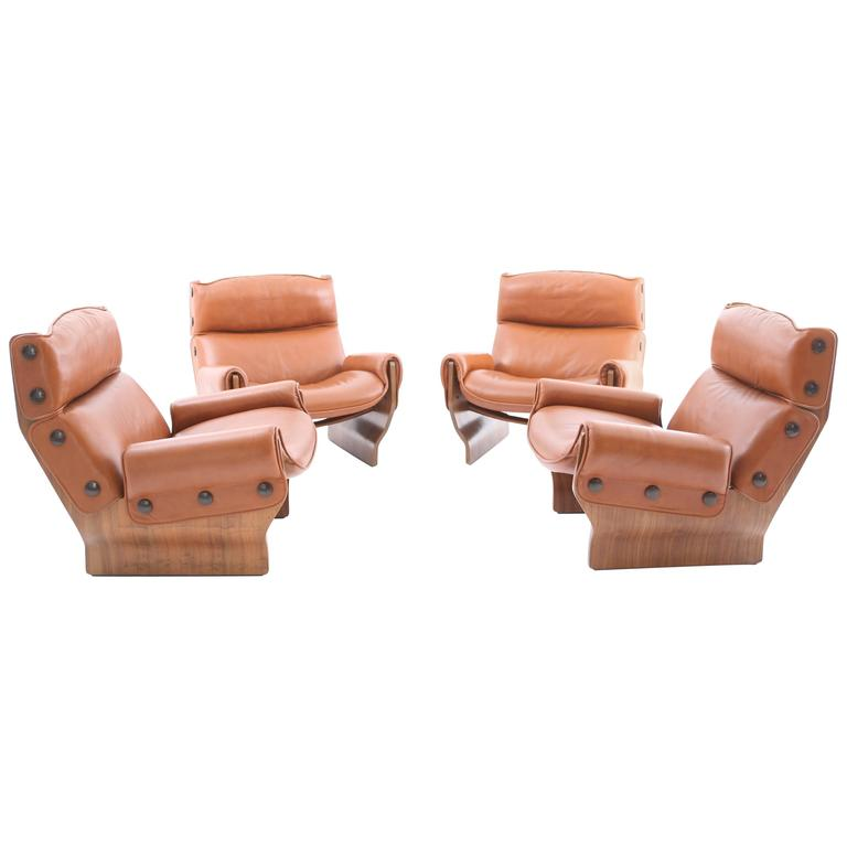 Four Canada Lounge Chairs by Osvaldo Borsani, Tecno