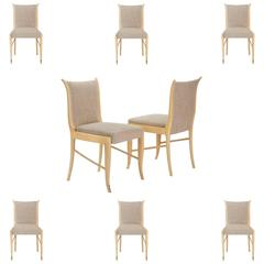 Guglielmo Ulrich, Attributed, Set of 8 Italian Lacquered and Upholstered Chairs