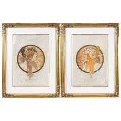 "Alphonse Mucha Pair of ""Byzantine Heads"" Lithographs"