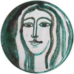 Robert Picault Mid-Century Modern Ceramic Plate, Vallauris