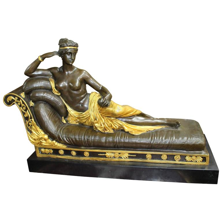 Classical Style Reclining Bronze Figure on Marble Base