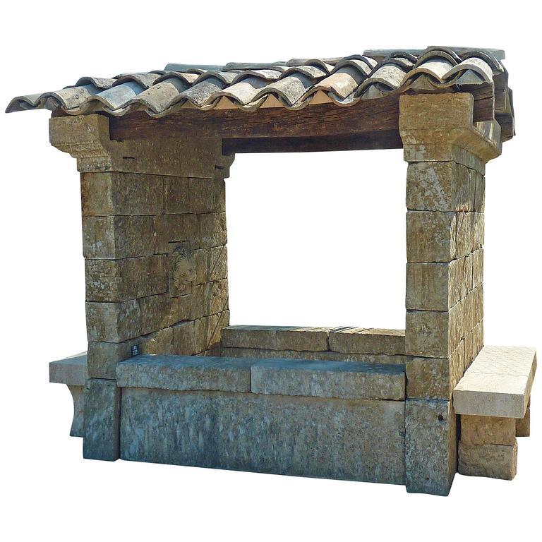 Rare French Limestone Shelter Fountain, 19th Century