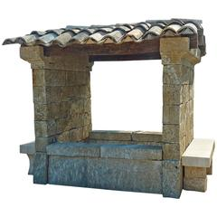 Rare French Limestone Shelter Fountain, 19th Century