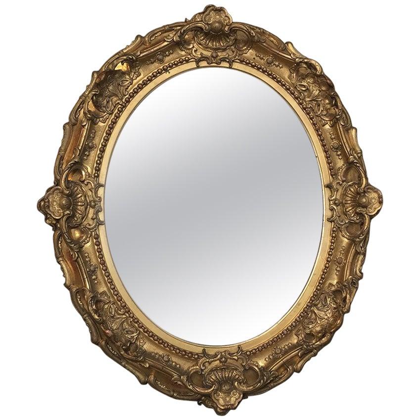 19th Century Gilded Baroque Oval Mirror