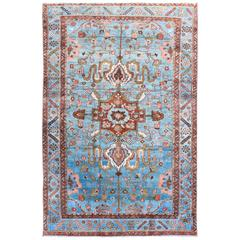 Early 20th Century Antique Persian Malayer Rug with Blue Field and Bold Botanics