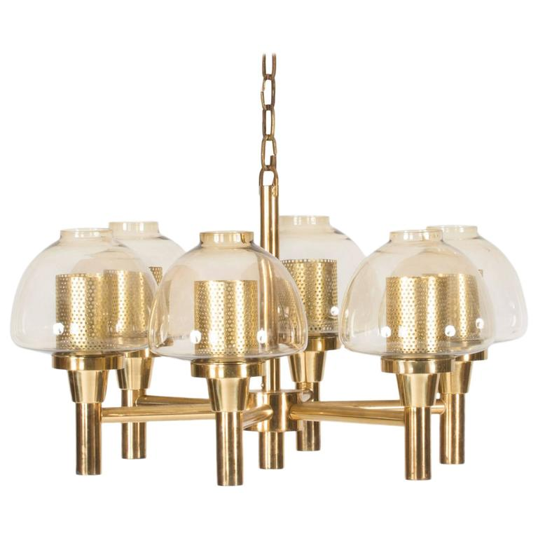 Brass and Glass Chandelier by Hans-Agne Jakobsson For Sale
