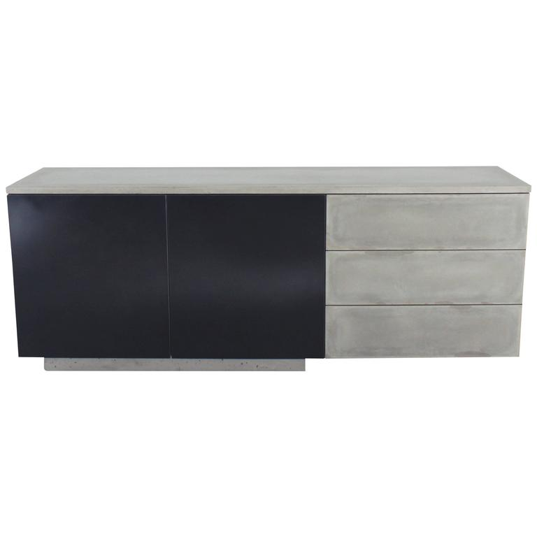 "Solid Walnut, Blackened Steel and Cast Concrete ""C-210"" Cantilevered Credenza 1"