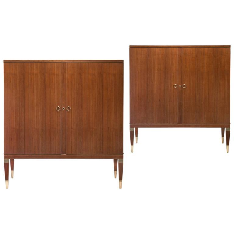 Paolo Buffa, Pair of Italian Brass, Maple and Golden Teak Cabinets