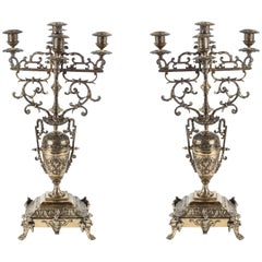 Pair of French Brass Candelabras