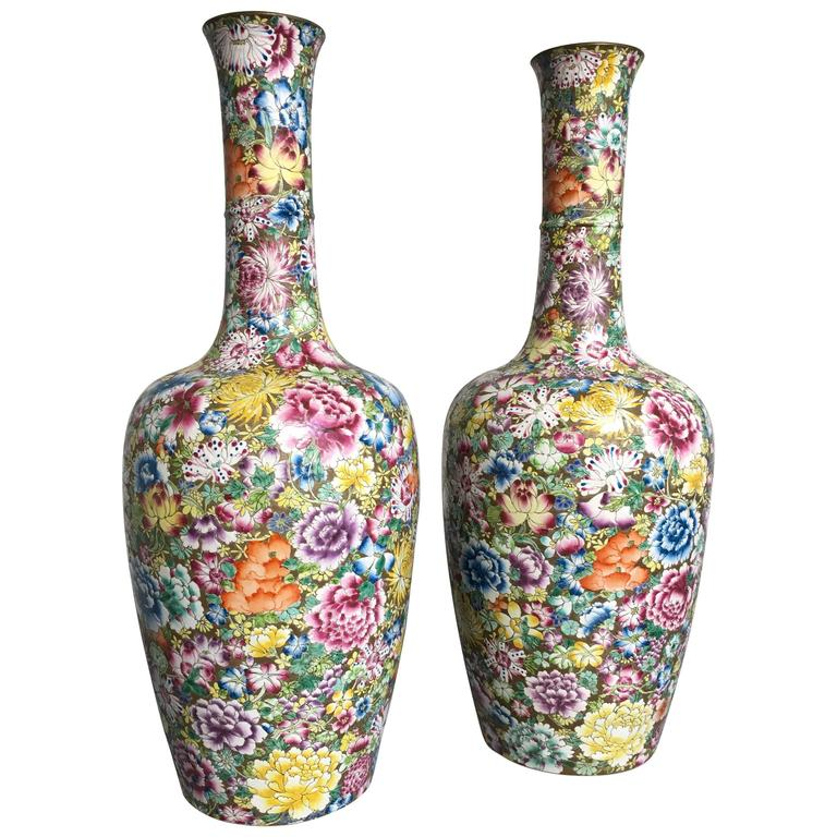 Pair of Chinese Republic Period Gilt Ground Millefleurs Tall Vases