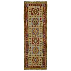 Vintage Shirvan Afghan Kilim Runner with Boho Chic Tribal Style