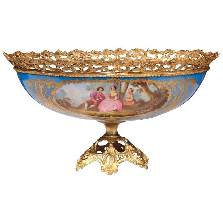 19th Century French Painted Porcelain and Bronze Oval Jardinière Sevres Style For Sale