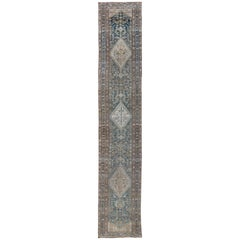 Long Persian Malayer Runner with Free-Flowing Geometric Pattern and Blue Field
