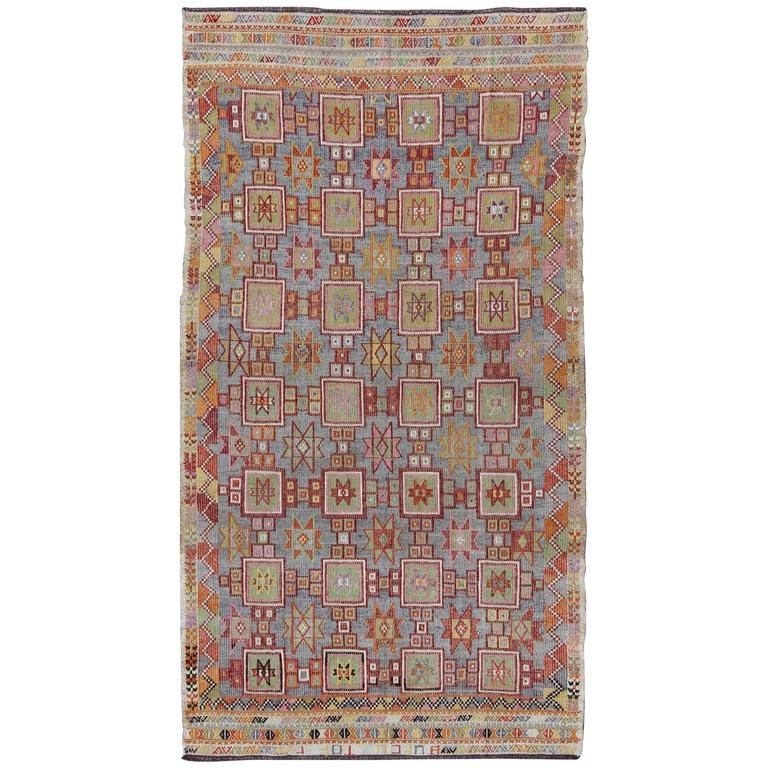 Large Embroidered Kilim with Star and Geometric in Array of Muted Colors