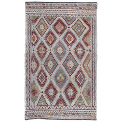 Turkish Kilim with Large-Scale Diamond Pattern in a Rainbow Assortment of Colors