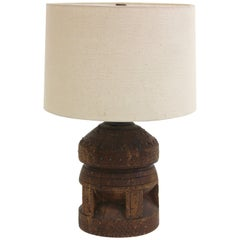 Vintage African Carved Solid Wood Table Lamp
