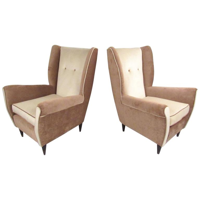 Pair of Modern Italian High Back Lounge Chairs