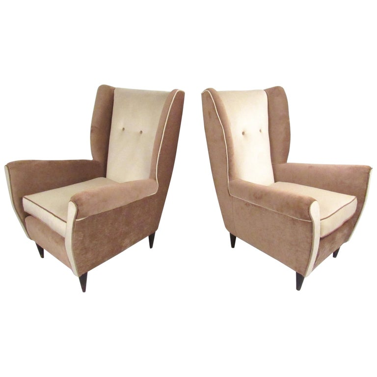 Pair of Modern Italian High Back Lounge Chairs For Sale