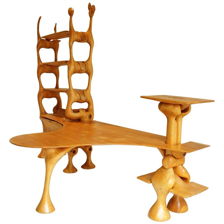 Early Wendell Castle Style Organic Hand-Cut Desk, 1960s