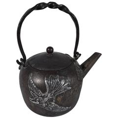 Rare Japonesque Mixed Metal Iron and Sterling Silver Teapot by Gorham