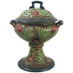 19th Century Majolica Lidded Bowl, Choisy Le Roi