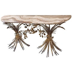 Spectacular Italian Onyx and Gilt Metal Demilune Console